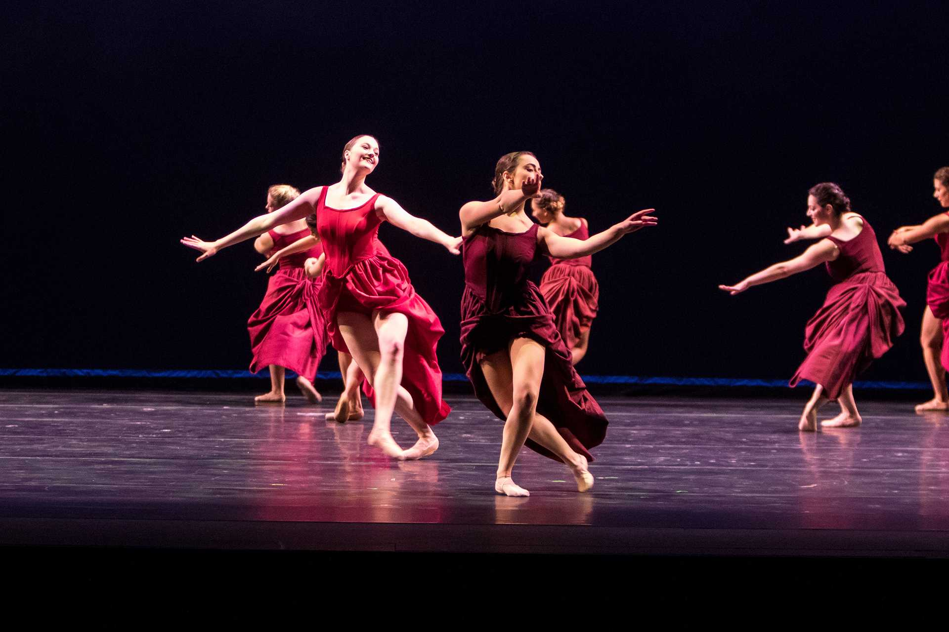 Students from the University of Iowa Dance Department perform the dance 'Ask the Beasts' as part of Dance Gala 2017 at Hancher Auditorium on Wednesday, Nov. 8, 2017. (David Harmantas/The Daily Iowan)