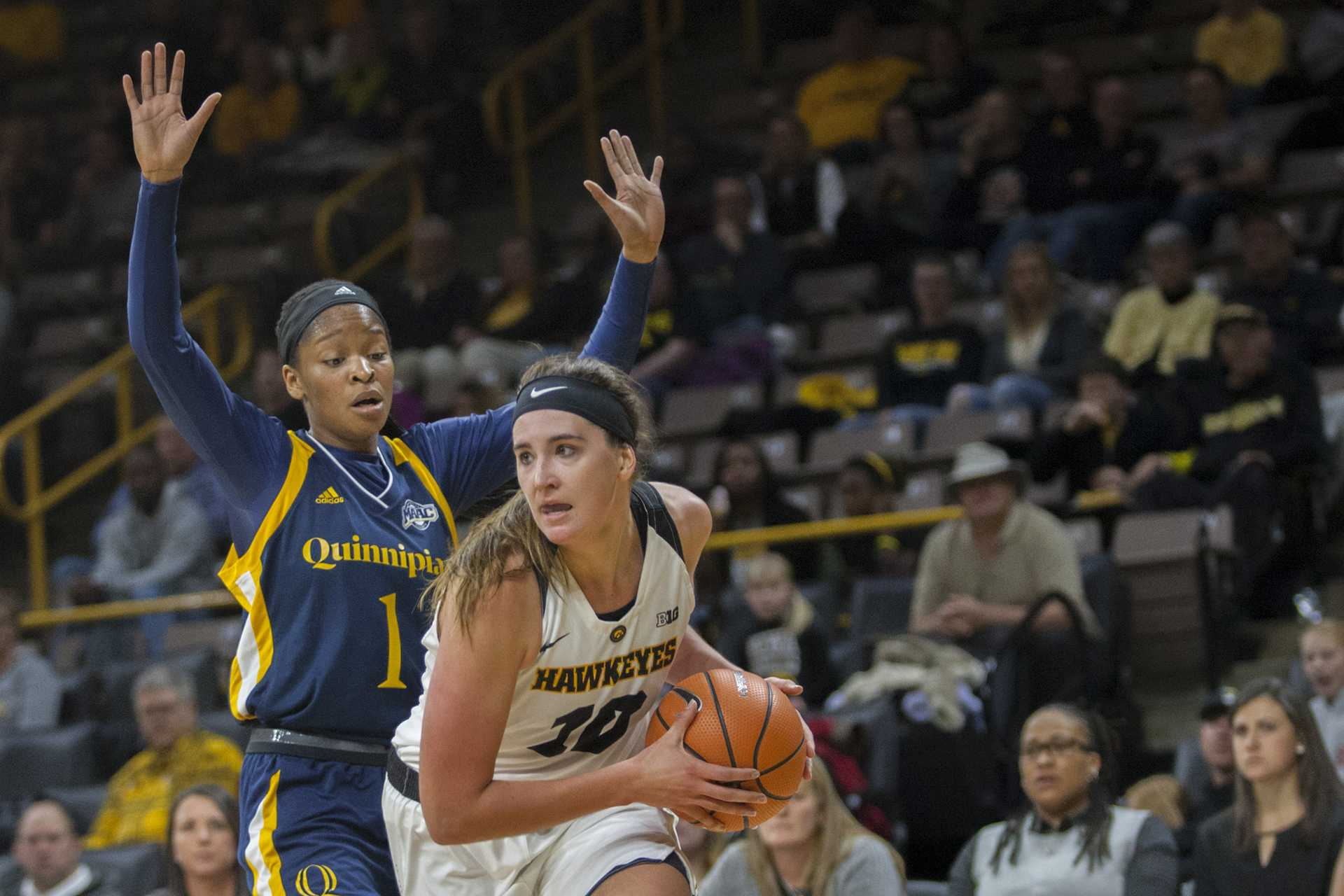 Iowa center Megan Gustafson during the Iowa/Quinnipiac basketball game at Carver-Hawkeye Arena on Friday, Nov. 10, 2017. The Hawkeyes defeated the Bobcats, 83-67, for head coach Lisa Bluder's 700 career win. (Lily Smith/The Daily Iowan)