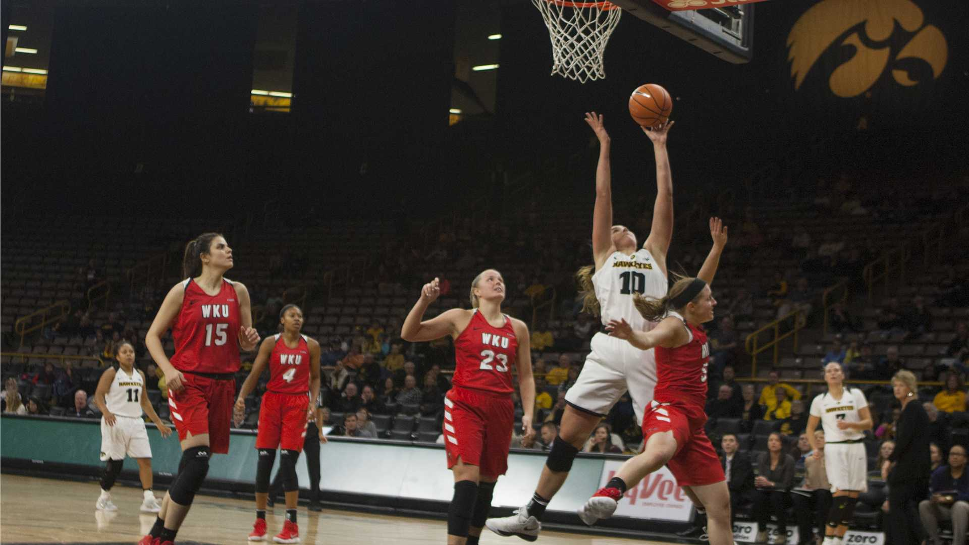 Iowa's Megan Gustafson shooting at Carver Hawkeye Arena on Saturday, Nov. 11, 2017. The Hawkeyes defeated the Lady Toppers 104-97 in overtime. (Ashley Morris/The Daily Iowan)