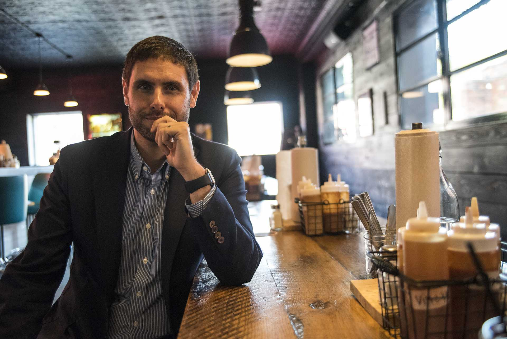 State Sen. Nate Boulton D-Iowa hosted a meet and greet lunch with the Chamber of Commerce at Mosley's on Wednesday, Nov. 8, 2017. Boulton is running in the 2018 gubernatorial race on multiple platforms including good quality of life for small communities. (Ben Smith/The Daily Iowan)