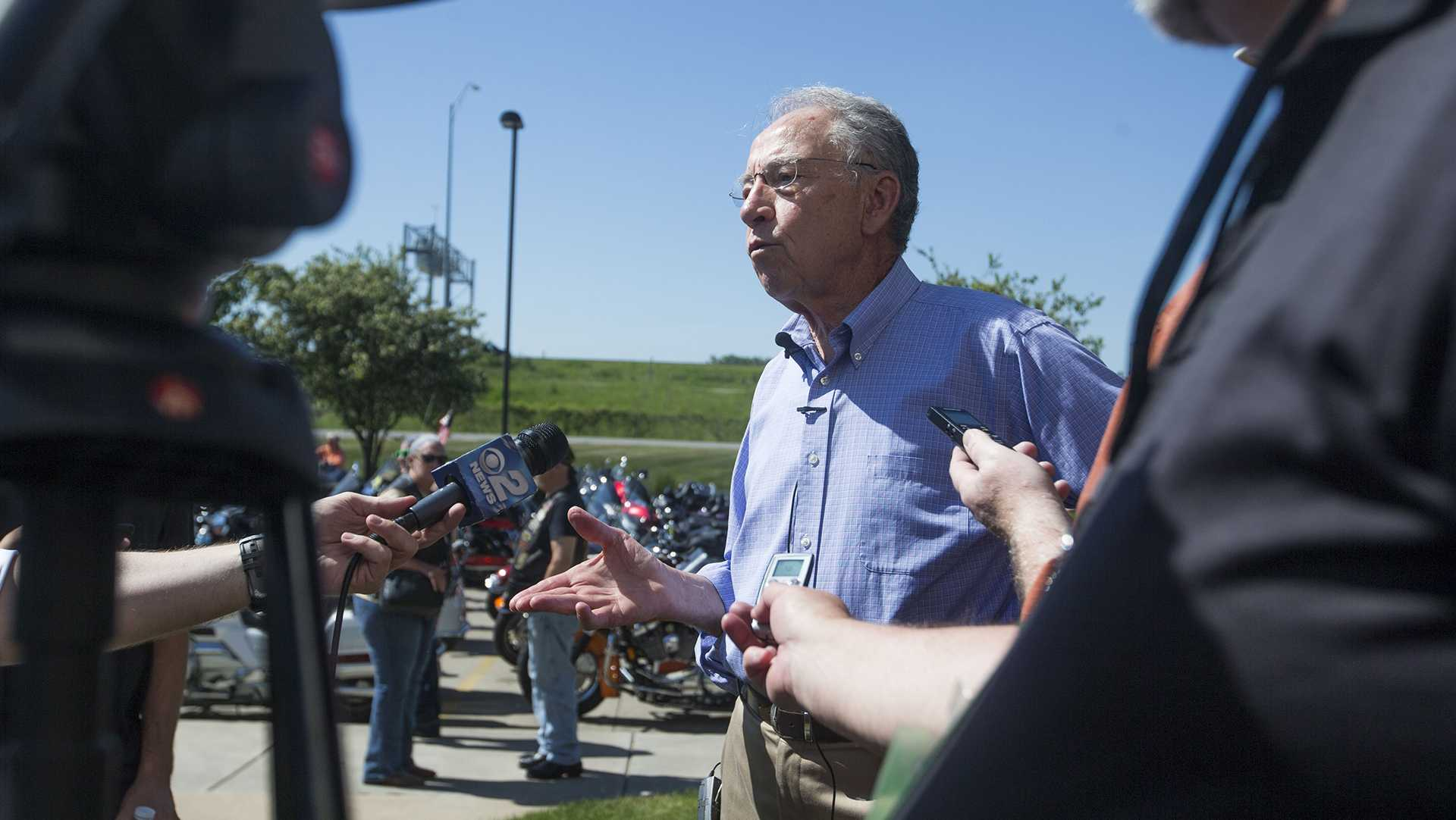 Sen. Chuck Grassley, R-Iowa, speaks with members of the media during the third annual Joni Ernst Roast and Ride fundraiser event at Big Barn Harley Davidson in Des Moines on Saturday, June, 3, 2017. (Joseph Cress/The Daily Iowan)