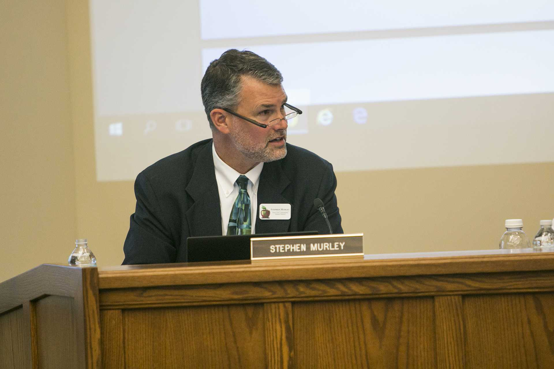 """School District President Stephen Murley speaks during the School Board meeting on Oct. 24. The district has decided to get rid of its controversial """"seclusion rooms.""""  (Joseph Cress/The Daily Iowan)"""
