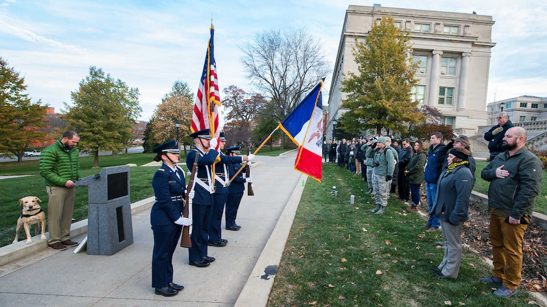 Veterans Day Reveille and Opening Ceremony on the Pentacrest, Friday Nov.10, 2017. (Justin Torner, University of Iowa)