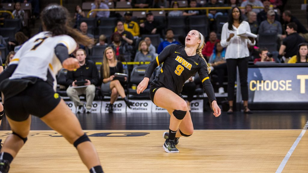 Annika+Olsen+reacts+to+a+mis-hit+ball+during+a+volleyball+match+against+Indiana+University+on+Friday%2C+Nov.+3%2C+2017.+The+Hawkeyes+defeated+the+Hoosiers+3-0.+%28David+Harmantas%2FThe+Daily+Iowan%29
