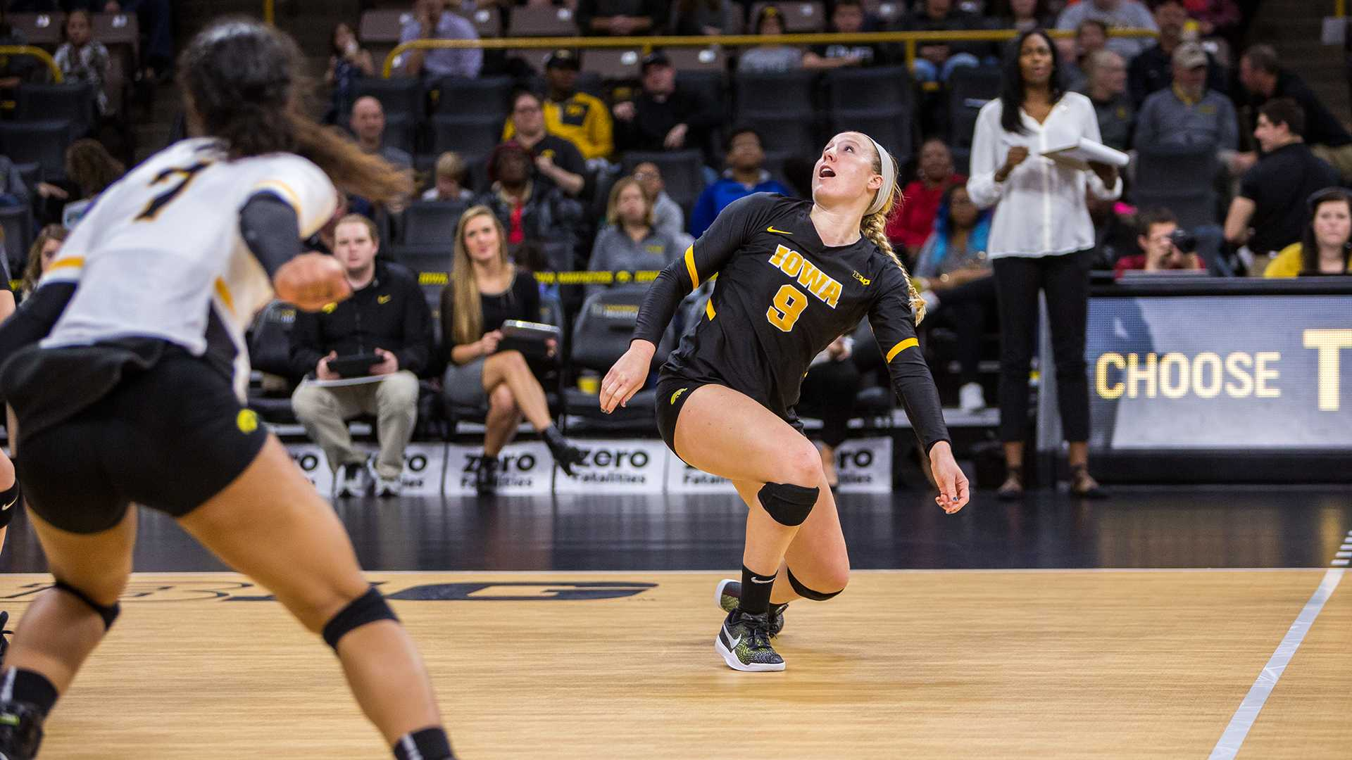 Annika Olsen reacts to a mis-hit ball during a volleyball match against Indiana University on Friday, Nov. 3, 2017. The Hawkeyes defeated the Hoosiers 3-0. (David Harmantas/The Daily Iowan)