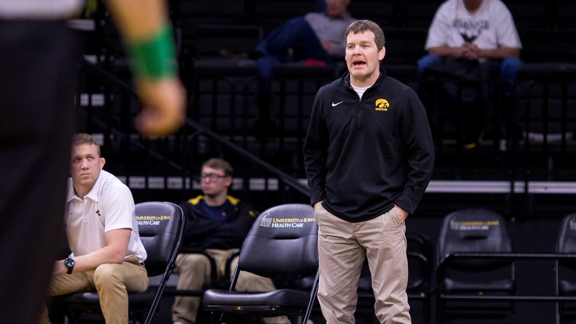 Iowa wrestling head coach Tom Brands watches his team wrestle on Friday, Nov. 17, 2017. (David Harmantas/The Daily Iowan)