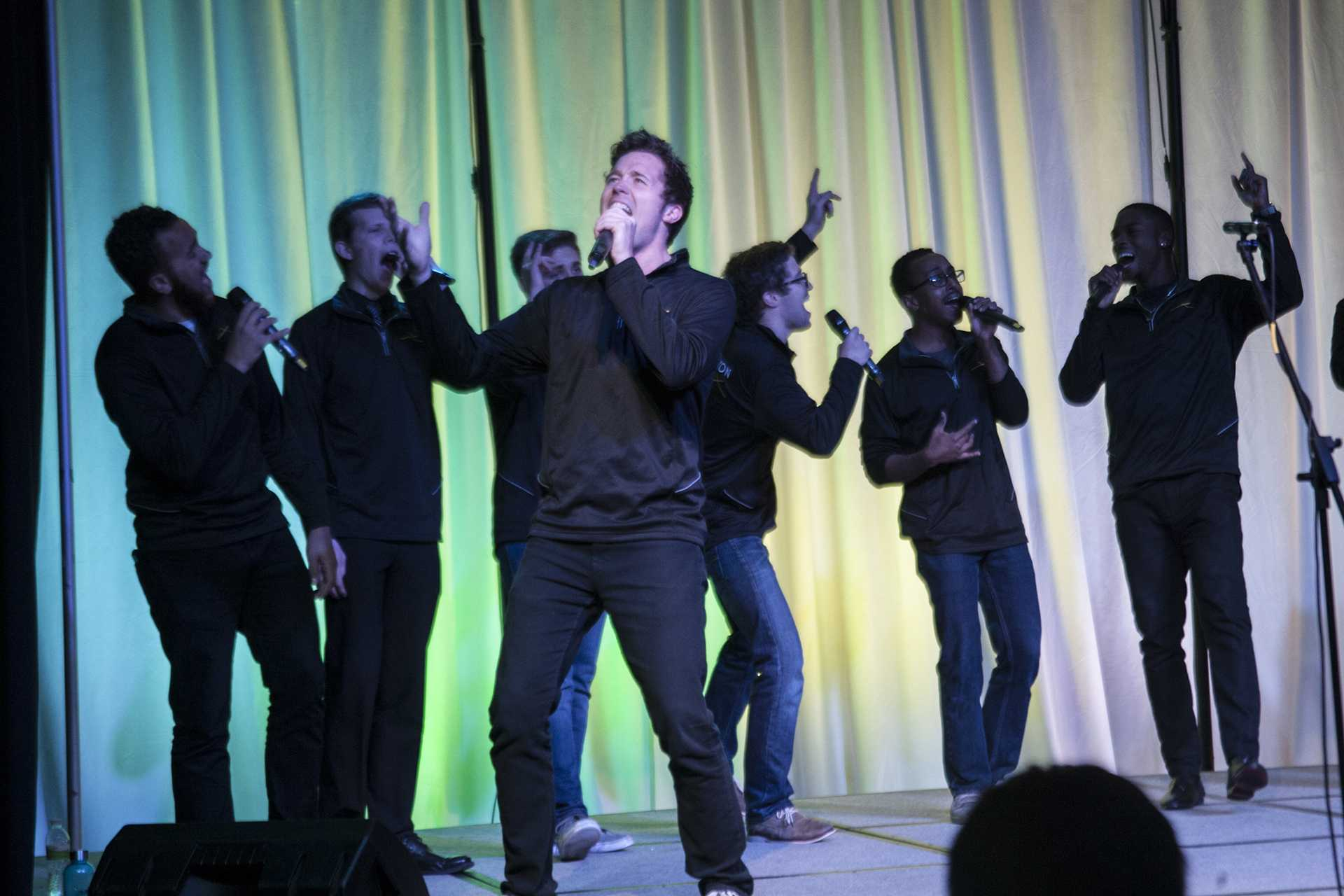Intersection performs during the Acapella Fall Festival in the IMU Main Lounge on Monday, Nov. 13, 2017. The four groups performed a mix of the Penatonix, Hozier, Sia, and Florence and the Machine. (Katie Goodale/The Daily Iowan)