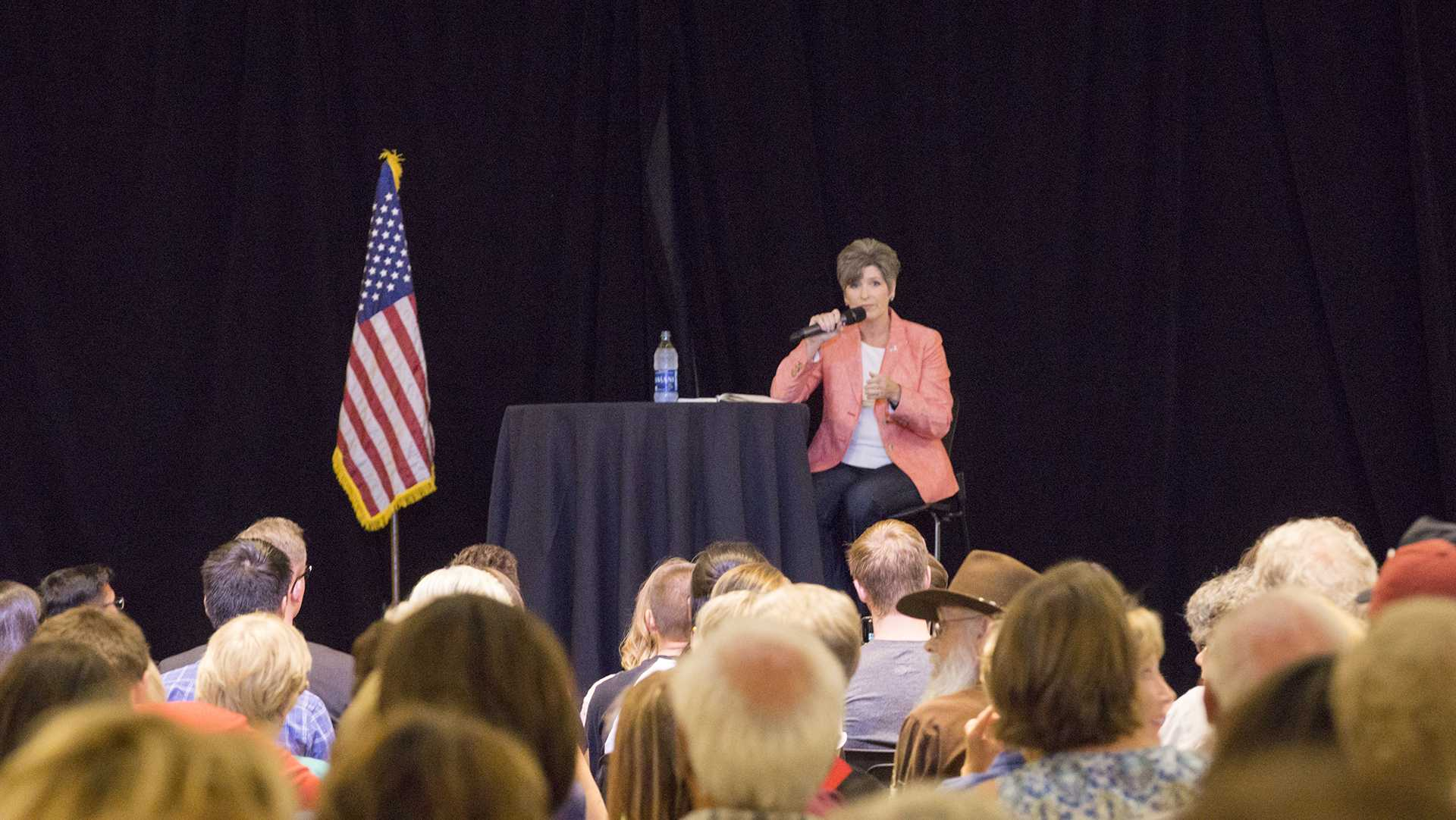Sen. Joni Ernst, R-Iowa, answers questions at a Town Hall meeting in the Iowa Memorial Union on Friday, Sept. 22, 2017. The crowd was filled with energetic and concerned voters from all political affiliations.  (James Year/The Daily Iowan)