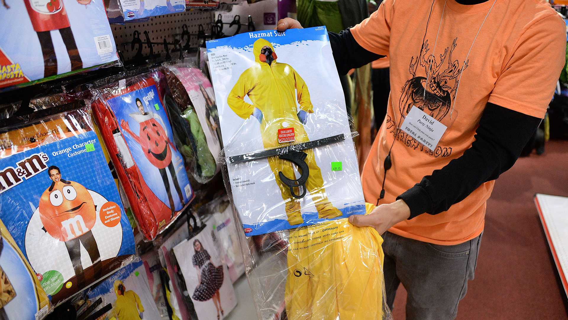 Costume stores are selling out of Hazmat suits as customers have Ebola on their minds this Halloween in Arlington, Va., on Friday, Oct. 17, 2014. (Olivier Douliery/Abaca Press/MCT)