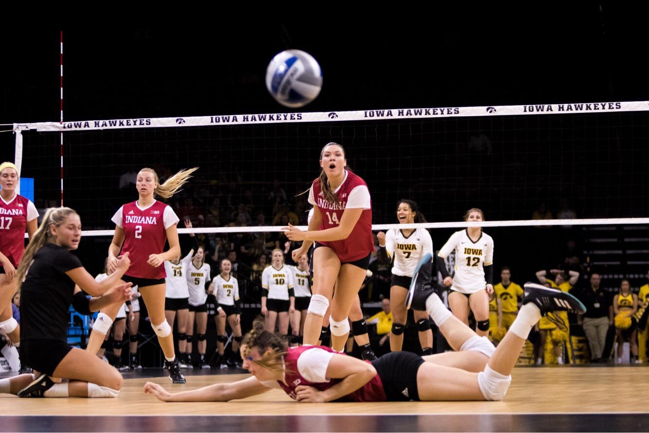 Iowa players celebrate while Indiana misses a save during the Iowa/Indiana volleyball match in Carver-Hawkeye Arena on Friday, Nov. 3, 2017. The Hawkeyes defeated the Hoosiers, 3-0. (David Haramantas/The Daily Iowan)
