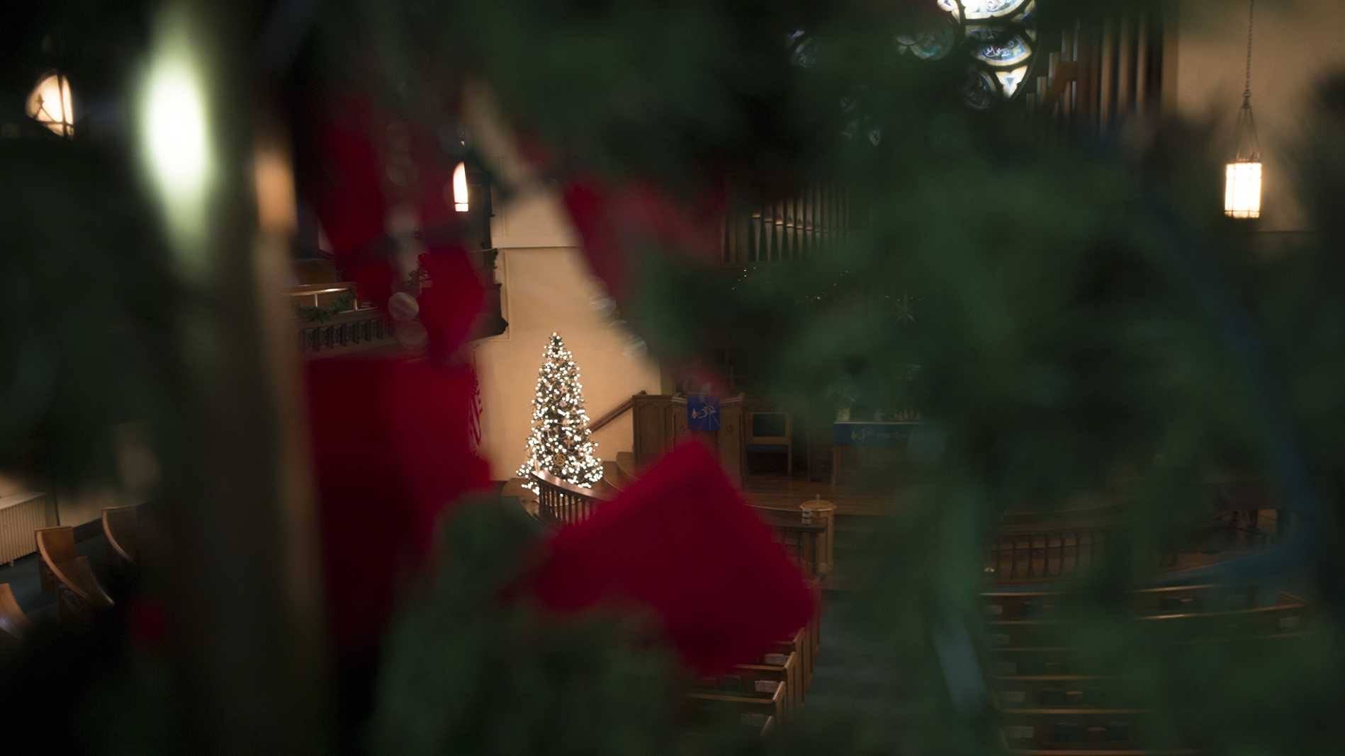A Christmas tree is seen at First United Methodist Church on Wednesday, Nov. 29, 2017. (Lily Smith/The Daily Iowan)