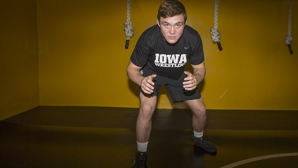 Jacob+Warner+poses+for+a+portrait+during+Wrestling+Media+Day+at+Carver-Hawkeye+Arena+on+Wednesday%2C+Nov.+8%2C+2017.+++Hawkeye+Wresling+begins+Iowa+City+duels+on+Friday%2C+Nov.+17+against+Iowa+Central+Community+College.+%28Lily+Smith%2FThe+Daily+Iowan%29