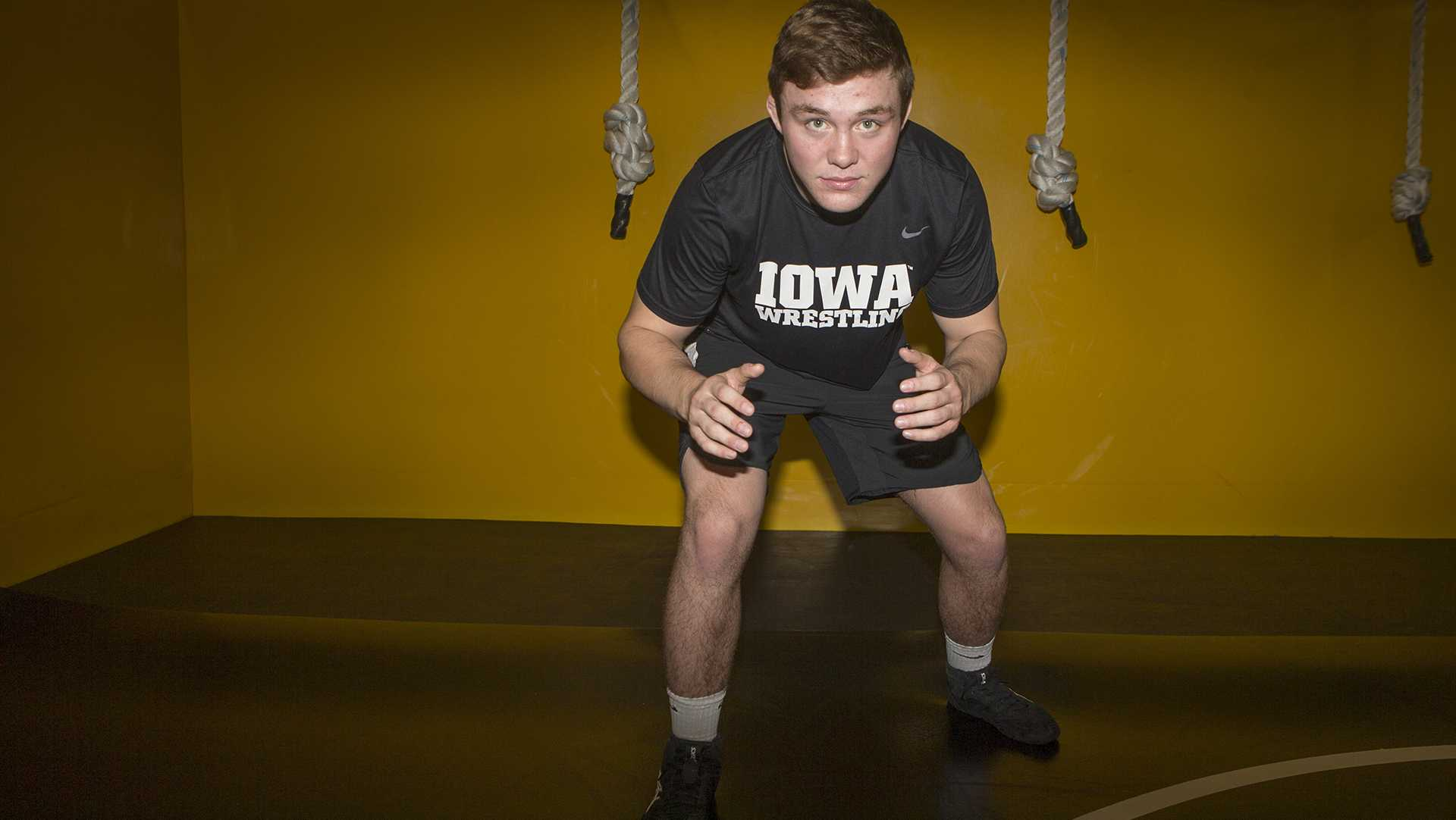 Jacob Warner poses for a portrait during Wrestling Media Day at Carver-Hawkeye Arena on Wednesday, Nov. 8, 2017.   Hawkeye Wresling begins Iowa City duels on Friday, Nov. 17 against Iowa Central Community College. (Lily Smith/The Daily Iowan)