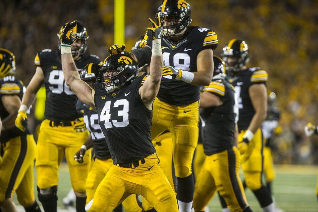 Iowa+linebacker+Josey+Jewell+celebrates+an+interception+during+the+game+between+Iowa+and+Penn+State+at+Kinnick+Stadium+on+Saturday%2C+Sept.+23%2C+2017.+%28Ben+Smith%2FThe+Daily+Iowan%29