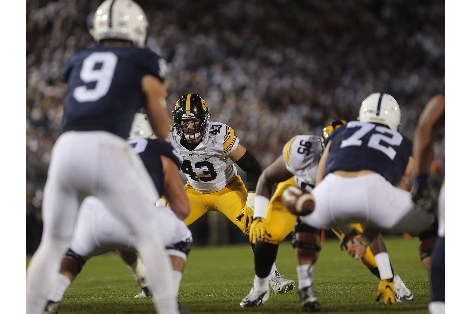 Iowa defensive linebacker Josey Jewell stares down Penn State quarterback Trace McSorley during the Iowa-Penn State game in Beaver Stadium in College State on Saturday, Nov. 5, 2016. The Nittany Lions defeated the Hawkeyes, 41-14. (The Daily Iowan/Margaret Kispert)