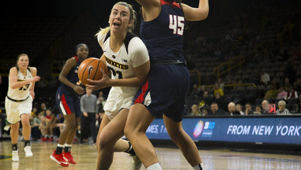 Iowa+forward+Hannah+Stewart+drives+to+the+hoop+during+the+Iowa%2FSamford+basketball+game+at+Carver-Hawkeye+Arena+on+Sunday%2C+Dec.+3%2C+2017.+The+Hawkeyes+defeated+the+Bulldogs%2C+80-59.+%28Lily+Smith%2FThe+Daily+Iowan%29