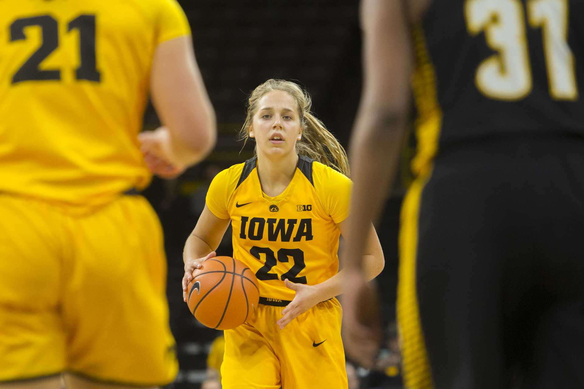 Iowa guard Kathleen Doyle dribbles the ball during the Iowa/Arkansas-Pine Bluff basketball game in Carver-Hawkeye Arena on Saturday, Dec. 9, 2017. The Hawkeyes defeated the Golden Lions, 85-45. (Lily Smith/The Daily Iowan)