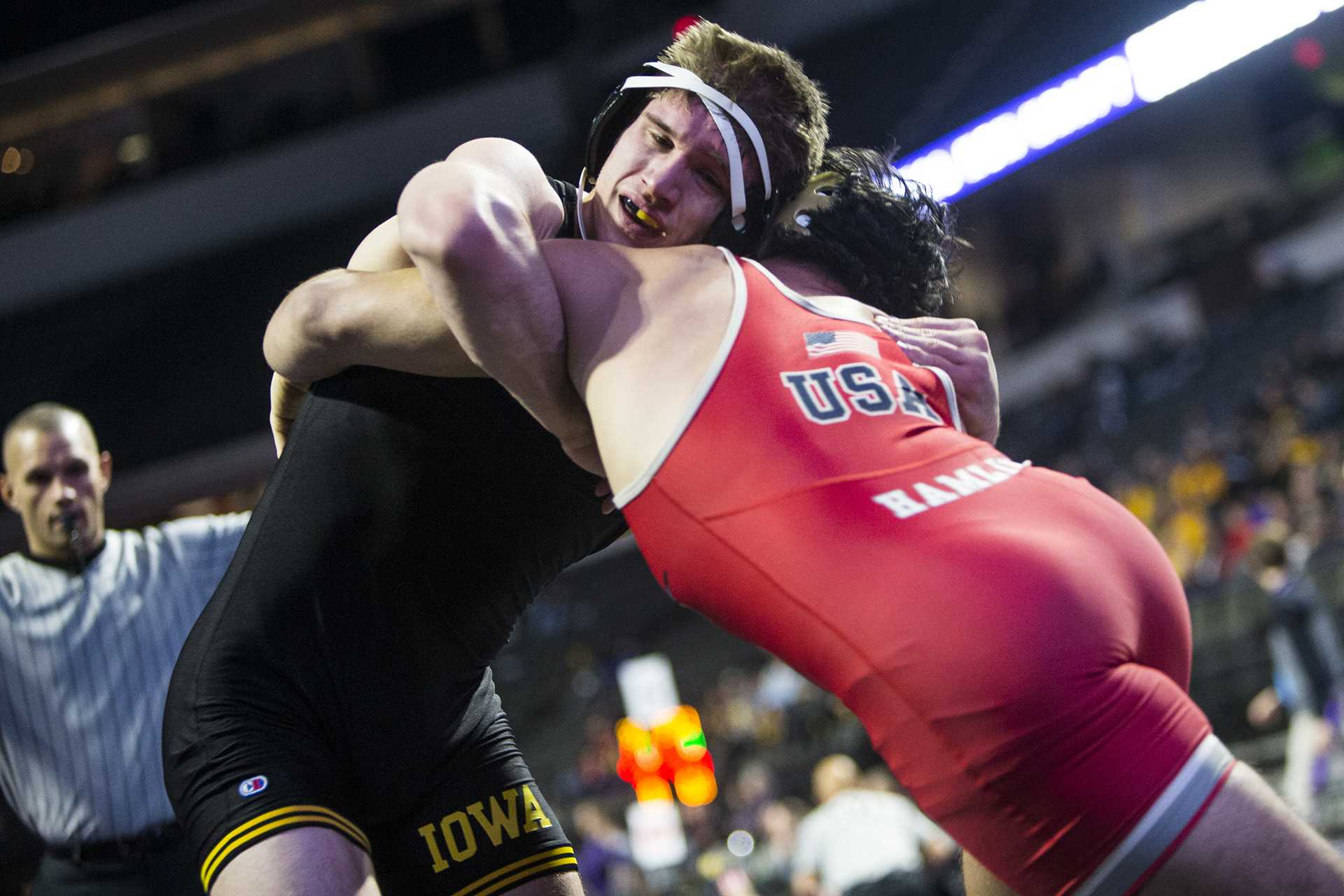 Iowa's 184-pound Cash Wilcke wrestles during the first session of the 55th Annual Midlands Championships in the Sears Centre in Hoffman Estates, Illinois, on Friday, Dec. 29, 2017. (Joseph Cress/The Daily Iowan)