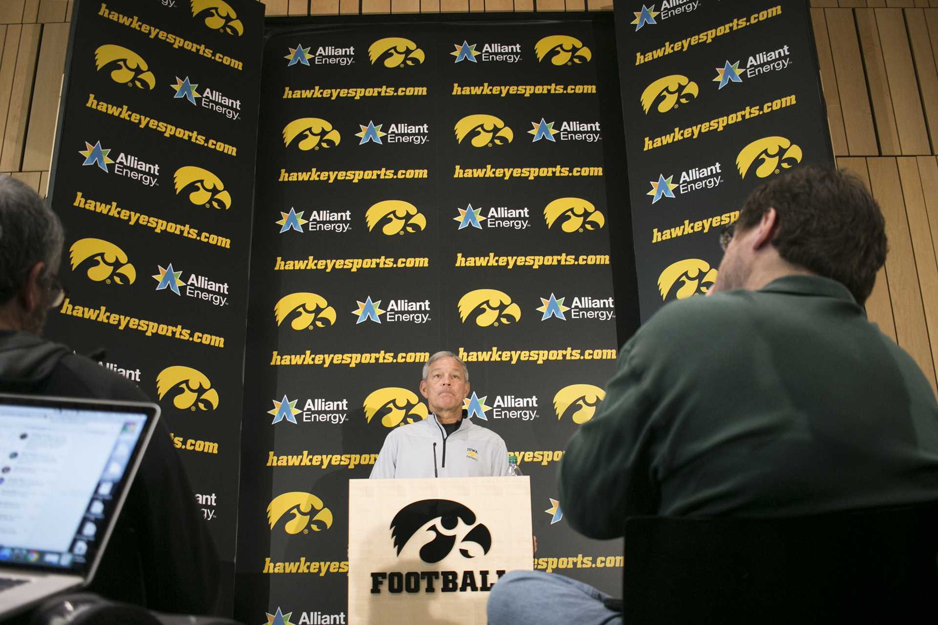 Iowa head coach Kirk Ferentz speaks with members of the media during a media availability in the Hansen Football Performance Center on Sunday, Dec. 3, 2017. The Hawkeyes accepted an invitation to play Boston College at the New Era Pinstripe Bowl in New York City on Wednesday, Dec. 27. (Joseph Cress/The Daily Iowan)