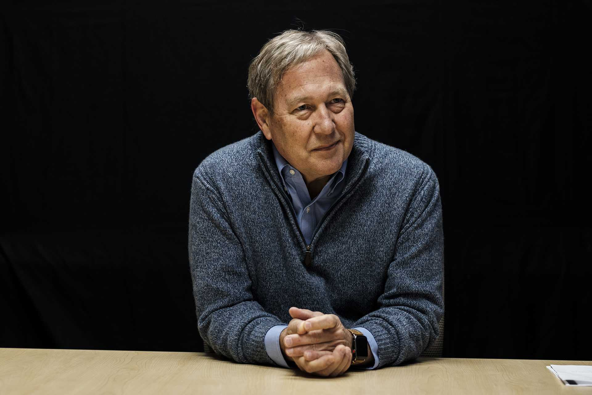 Bruce Harreld answers questions during an interview at the Adler Journalism Building on Dec. 7, 2017. The interview covered topics including tuition, alcohol in the greek community, and financial aid. (Nick Rohlman/The Daily Iowan)