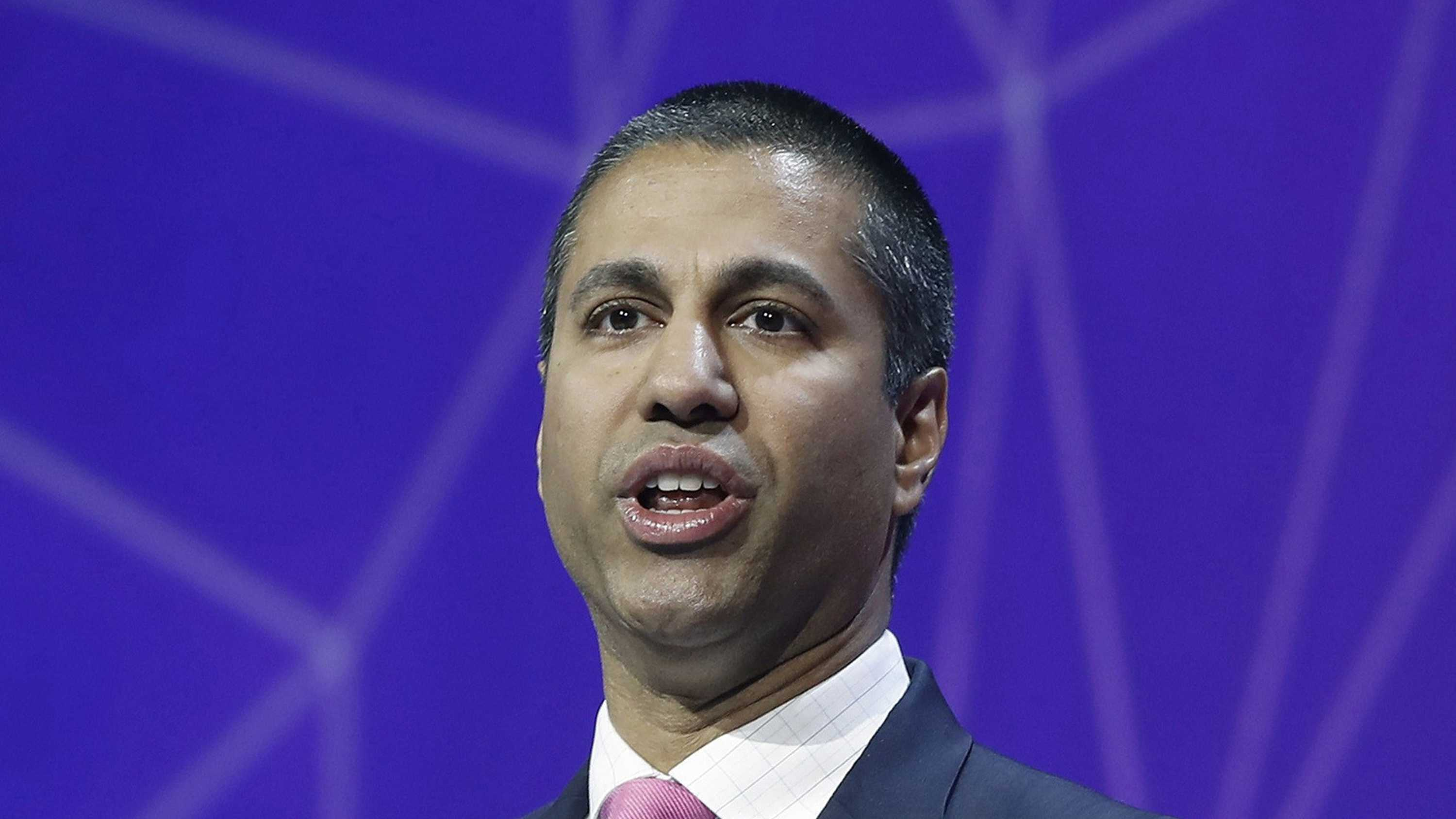 Chairman of the United States Federal Communications Commission (FCC), Ajit Pai, gives a speech during a conference at the Mobile World Congress (MWC) held in Barcelona, northeastern Spain, Feb. 28, 2017. (Andreu Dalmau/EFE/Zuma Press/TNS)