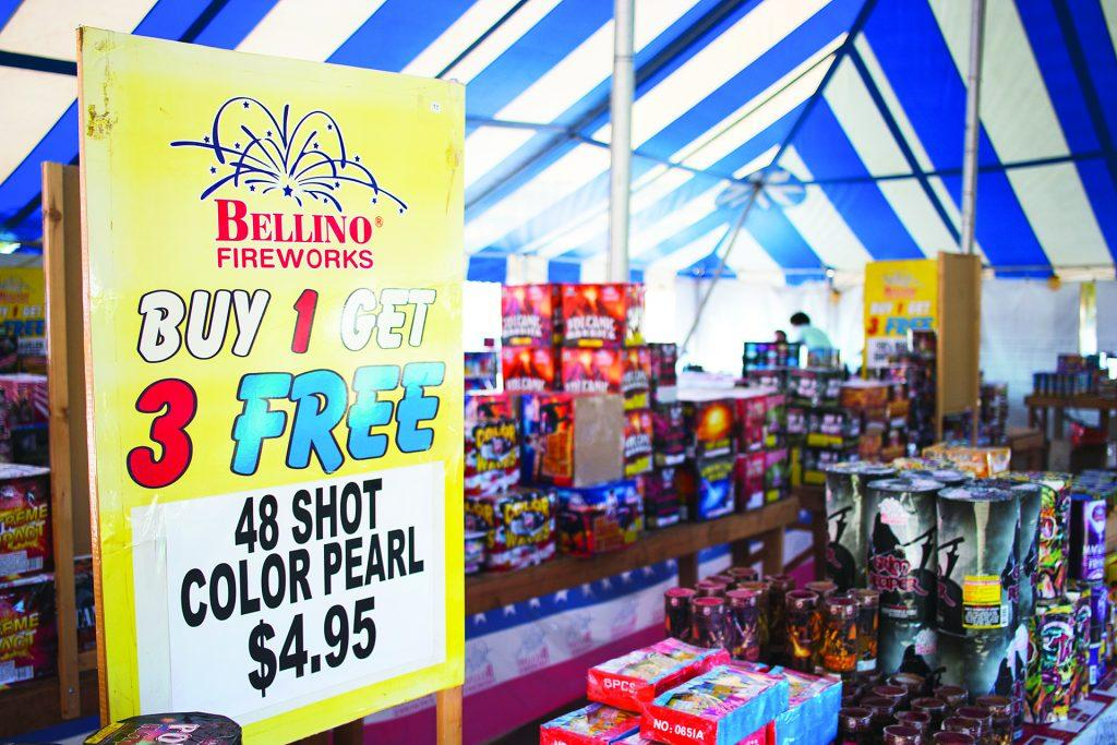 Fireworks+are+seen+inside+a+Bellino+Fireworks+tent+in+the+parking+lot+of+the+1st+Avenue+Hy-Vee+in+Iowa+City+on+Tuesday%2C+June+27%2C+2017.+State+law+says+consumer+fireworks+may+be+sold+and+used+in+permitted+areas+and+many+be+purchased+by+customers+18+or+older.+Iowa+City+Code+says+fireworks+many+not+be+used+in+city+limits+with+an+exception+for+novelty+fireworks%2C+such+as+sparklers+and+snakes.+%28Joseph+Cress%2FThe+Daily+Iowan%29