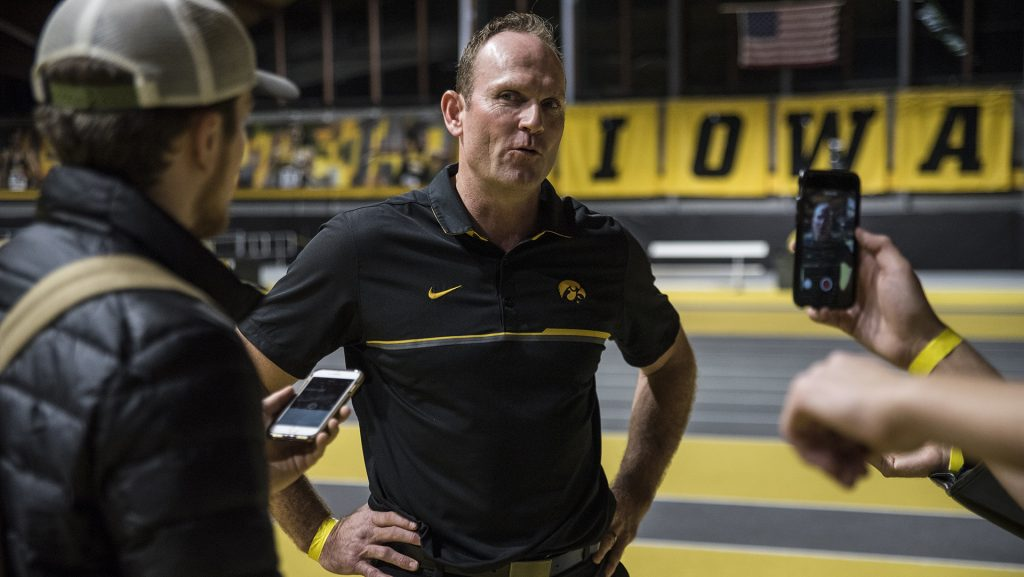 Iowa+Director+of+Track+and+Field+Joey+Woody+interviews+with+reporters+after+the+annual+Black+and+Gold+Intrasquad+Meet+at+the+UI+Recreation+Building+on+Saturday%2C+Dec.+9%2C+2017.+The+Hawkeyes+will+host+the+next+meet+on+January+13.+%28Ben+Allan+Smith%2FThe+Daily+Iowan%29