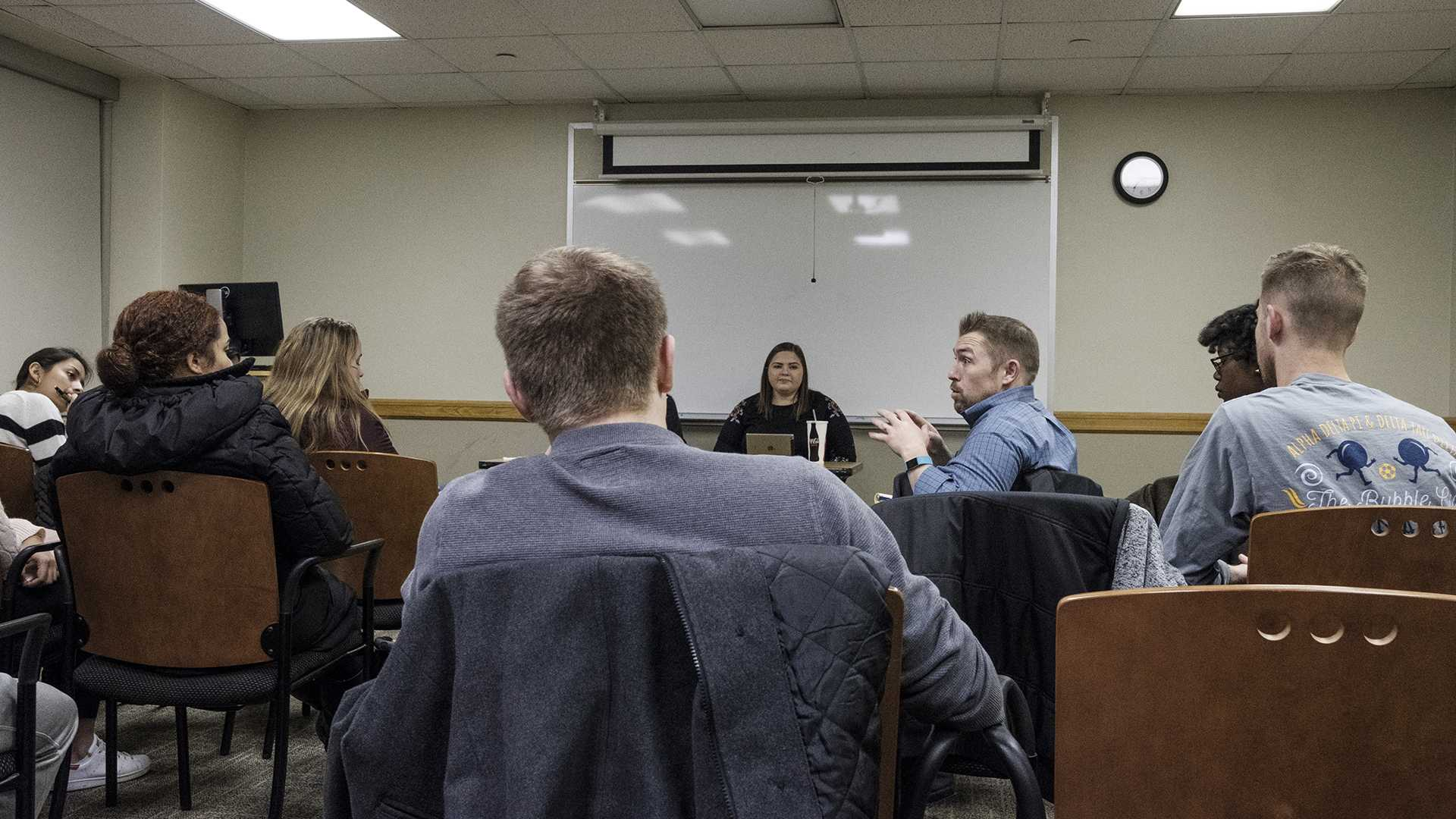 RVAP director Adam Robinson speaks during a UISG town hall meeting at the Iowa Memorial Union on Wednesday, Dec. 5, 2017. During the meeting attendees discussed issues relating to sexual assault and available resources on campus and in the community. (Nick Rohlman/The Daily Iowan)