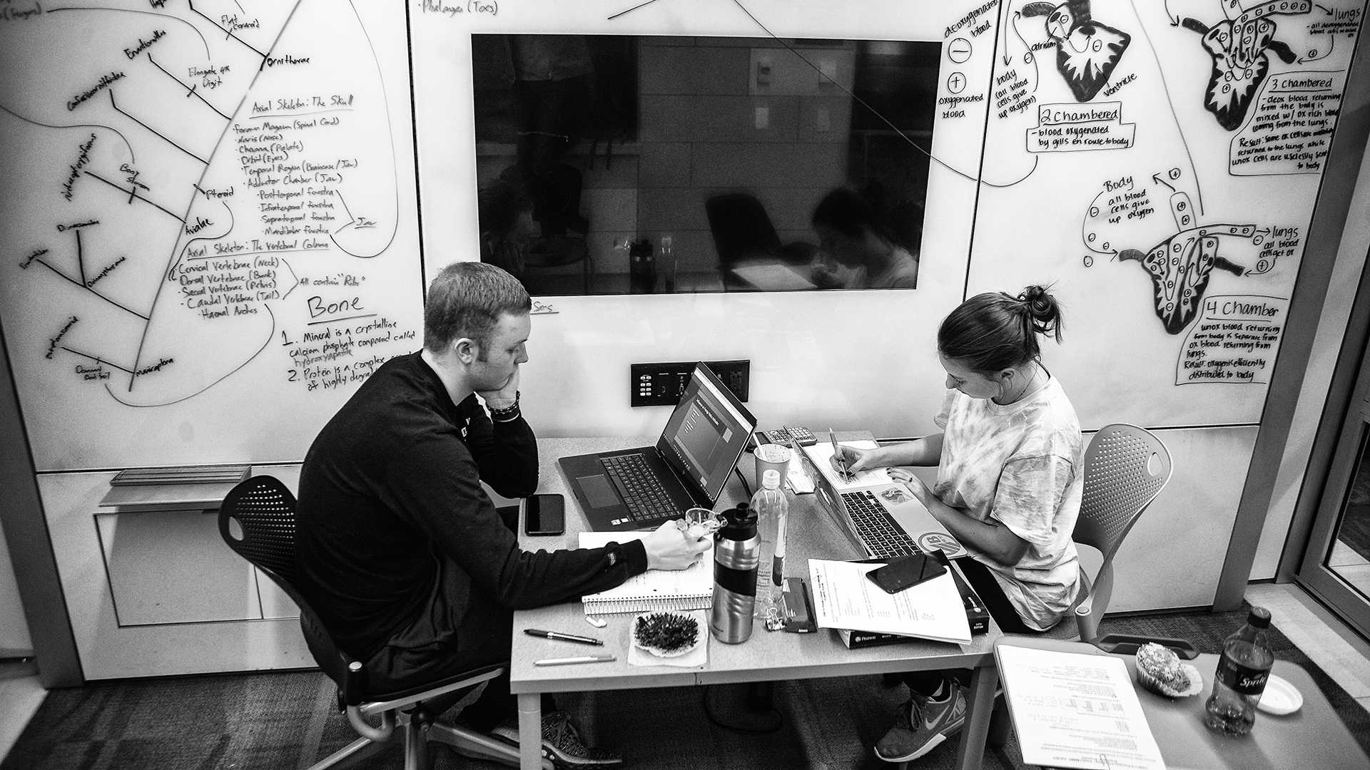 UI students David Broughton and Hannah Sullivan study inside a group room at the Main Library on Sunday, Dec. 10, 2017. With finals week approaching many students are spending time studying at locations such as the library.(Charles Peckman/The Daily Iowan)