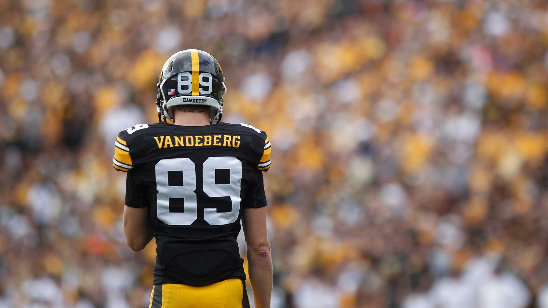Iowa wide receiver Matt VandeBerg awaits for a punt return from UNI at the UNI game at Kinnick Stadium on Saturday, Aug. 30, 2014. (File Photo/The Daily Iowan)