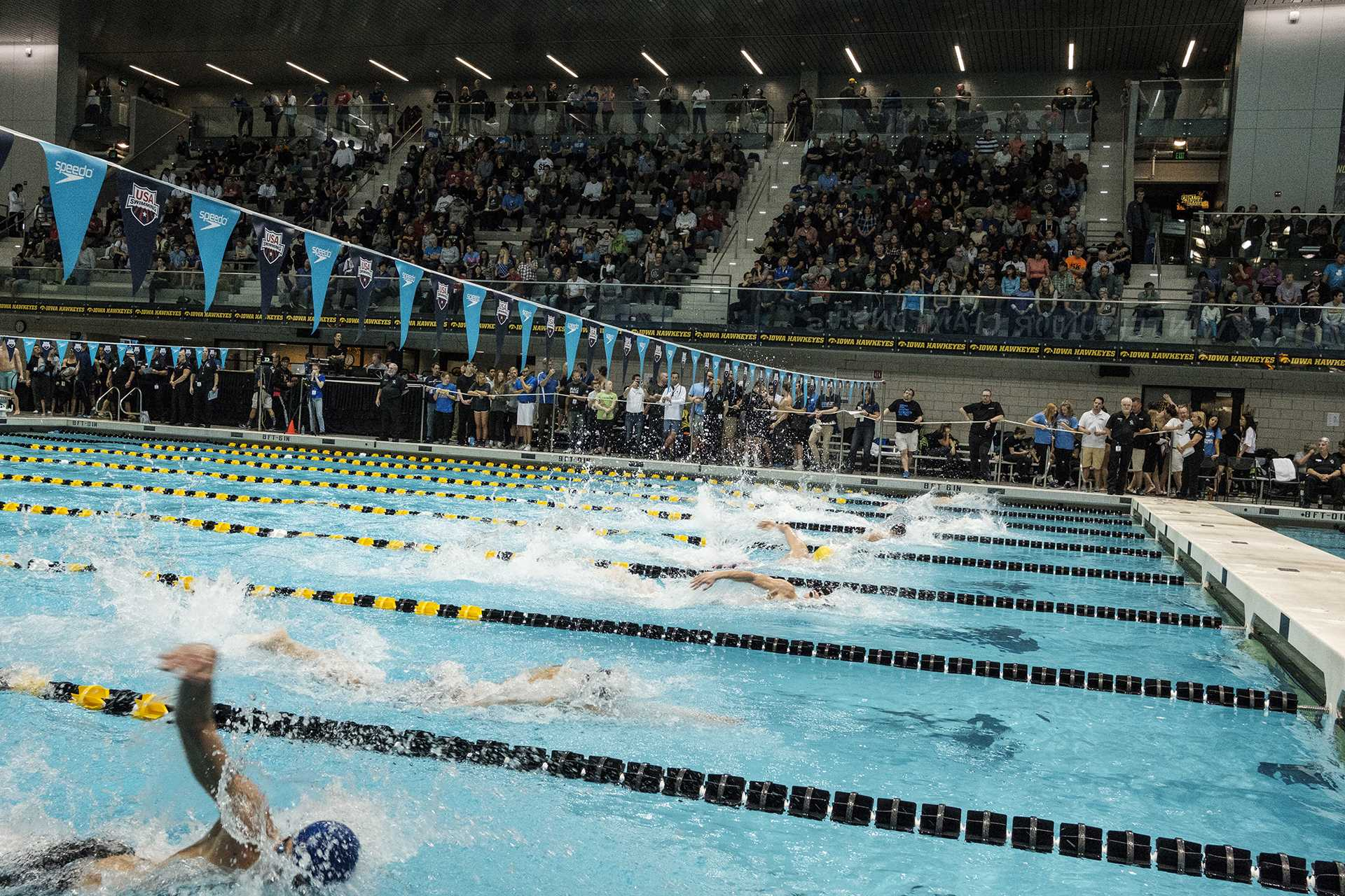 Swimmers compete during the USA Swimming West Junior Nationals on Saturday Dec. 9, 2017. (Nick Rohlman/The Daily Iowan)