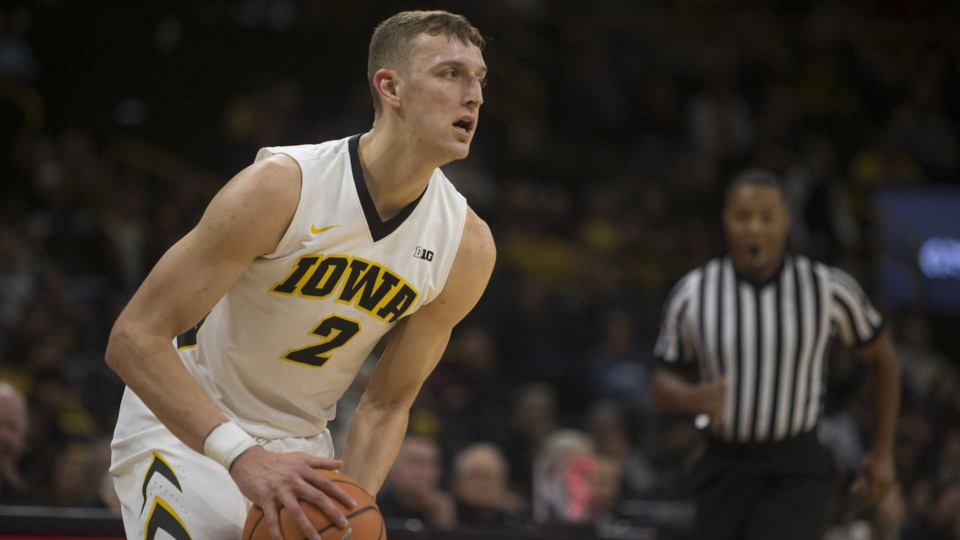 Iowa forward Jack Nunge prepares to pass during a basketball match between Iowa and Grambling State on Thursday, November 16, 2017. The Hawkeyes defeated the Tigers, 85-74. (Shivansh Ahuja/The Daily Iowan)