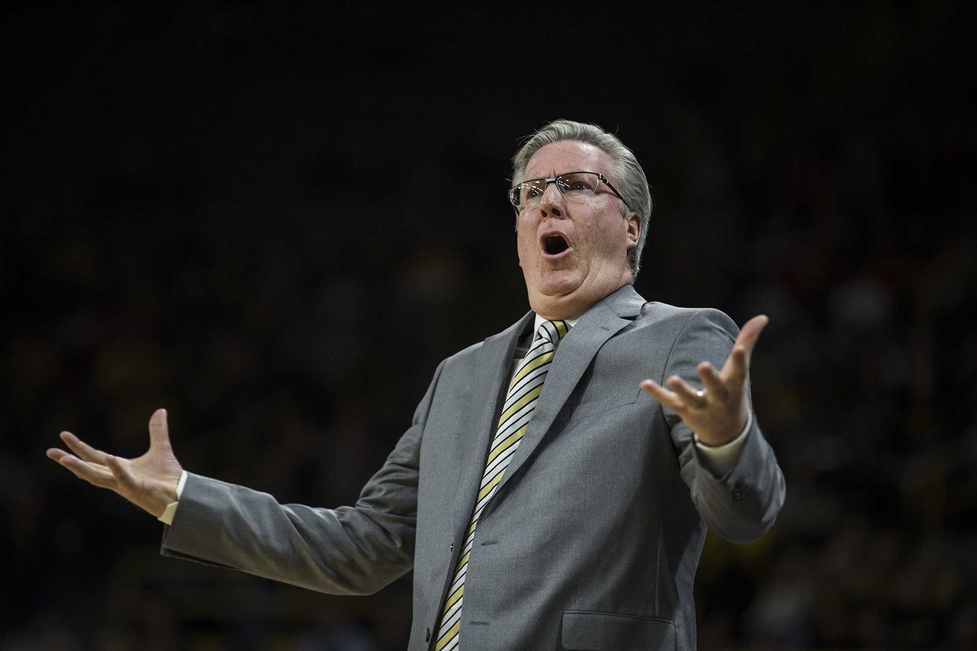 Iowa head coach Fran McCaffery reacts to a call by the referee during the NCAA basketball game between Iowa and Michigan at Carver-Hawkeye Arena on Tuesday, Jan. 2, 2017. The Hawkeyes fell to the Wolverines, 75-68. (Ben Allan Smith/The Daily Iowan)