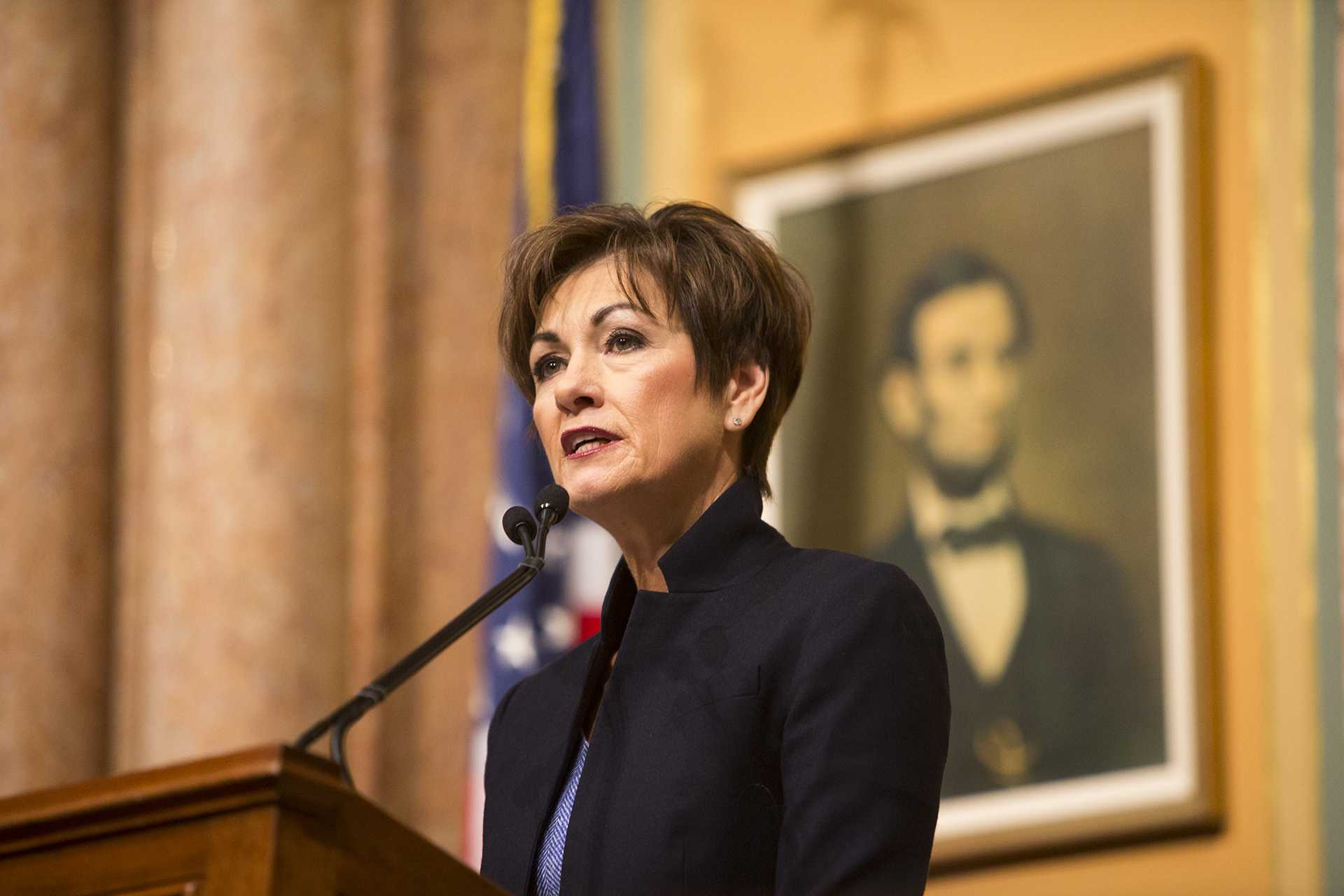 Iowa Gov. Kim Reynolds speaks during her first Condition of the State address in the Iowa State Capitol in Des Moines on Tuesday, Jan. 9, 2018. Reynolds took over the governor office in May 2017. (Joseph Cress/The Daily Iowan)