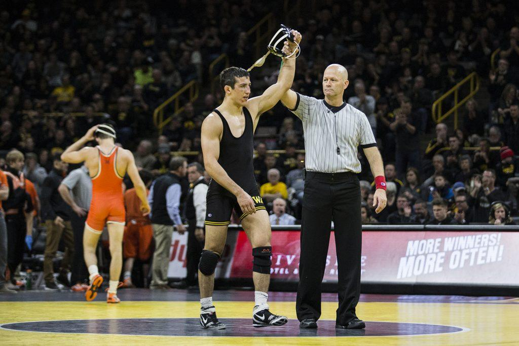 Iowa%27s+Michael+Kemerer+defeats+Oklahoma+State%27s+Jonce+Blaylock+9-2+in+the+157-pound+weight+class+during+the+NCAA+wrestling+meet+between+Iowa+and+Oklahoma+State+at+Carver-Hawkeye+Arena+on+Sunday%2C+Jan.+14.+The+%237+ranked+Hawkeyes+beat+the+%233+ranked+Cowboys+20-12.+%28Ben+Allan+Smith%2FThe+Daily+Iowan%29