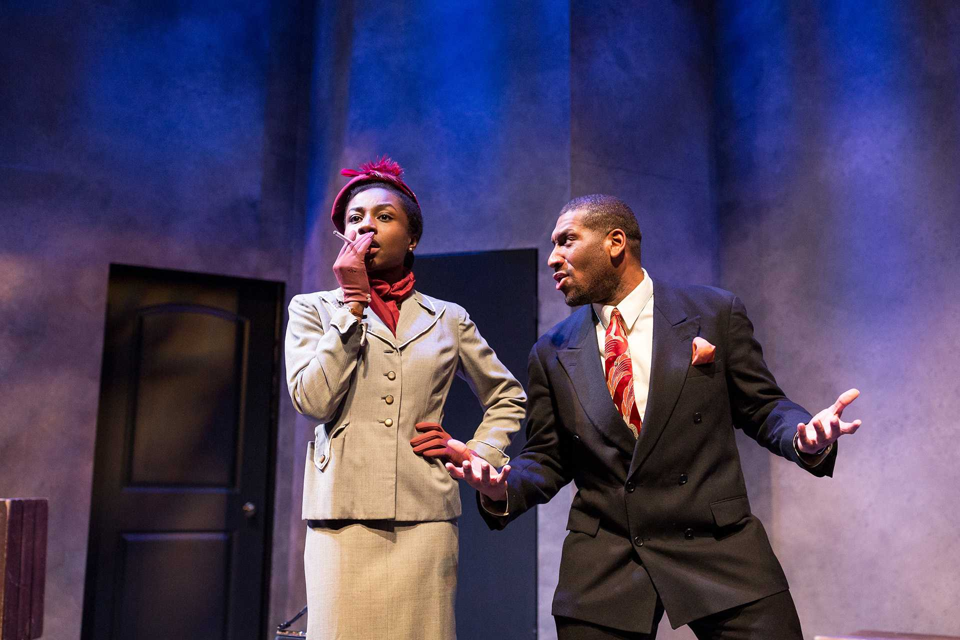 "Emelia Asiedu and Randryck Lewis (L–R) perform in the play ""By the Way, Meet Vera Stark"" at the University of Iowa Theater Building on Tuesday, Jan. 30, 2018. (David Harmantas/The Daily Iowan)"