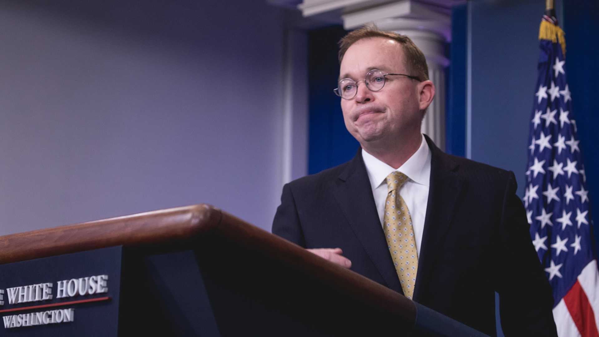 Office of Management and Budget Director Mick Mulvaney speaks to press during a briefing on the government shutdown on Saturday, January 20, 2018 in the James S. Brady Press Briefing Room of the White House in Washington, D.C. (Cheriss May/NurPhoto/Zuma Press/TNS)