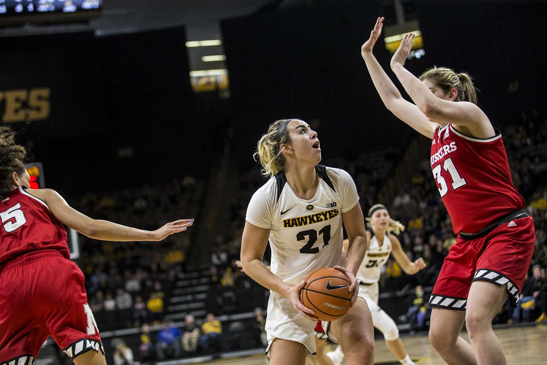 during the NCAA women's basketball game at Carver-Hawkeye Arena on Sunday, Jan. 28, 2018. The Cornhuskers defeated the Hawkeyes 92-74. Junior, Hannah Stewart goes up for a basket in the paint. (Chris Kalous/The Daily Iowan)