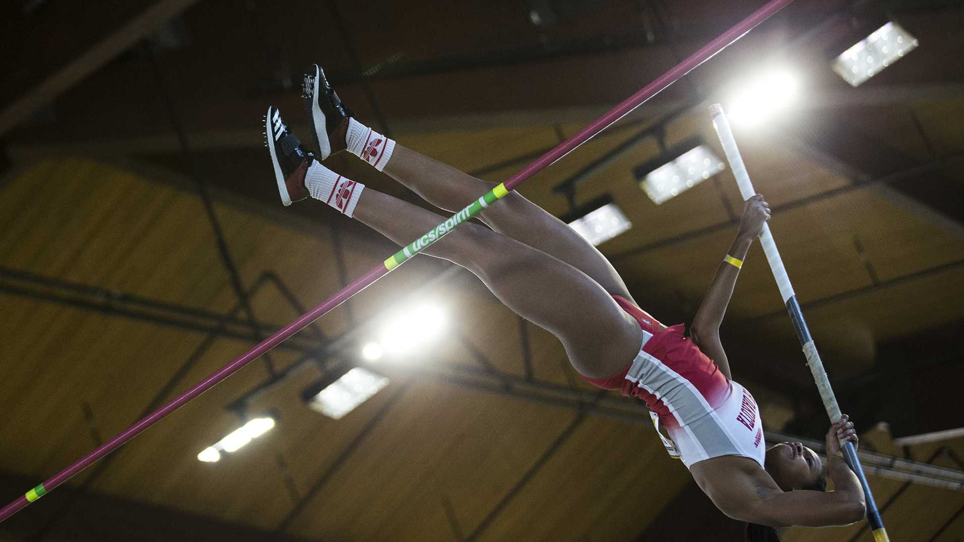 South Dakota sophomore Makiah Hunt attempts a pole vault during the Hawkeye Invitational indoor track meet at the Campus Recreation Building on Satuday, Jan. 13, 2017.  Hunt finished second in the Women's Pole Vault at 3.90 meters. The Hawkeyes opened up the season with over 11 titles for the day. (Ben Allan Smith/The Daily Iowan)
