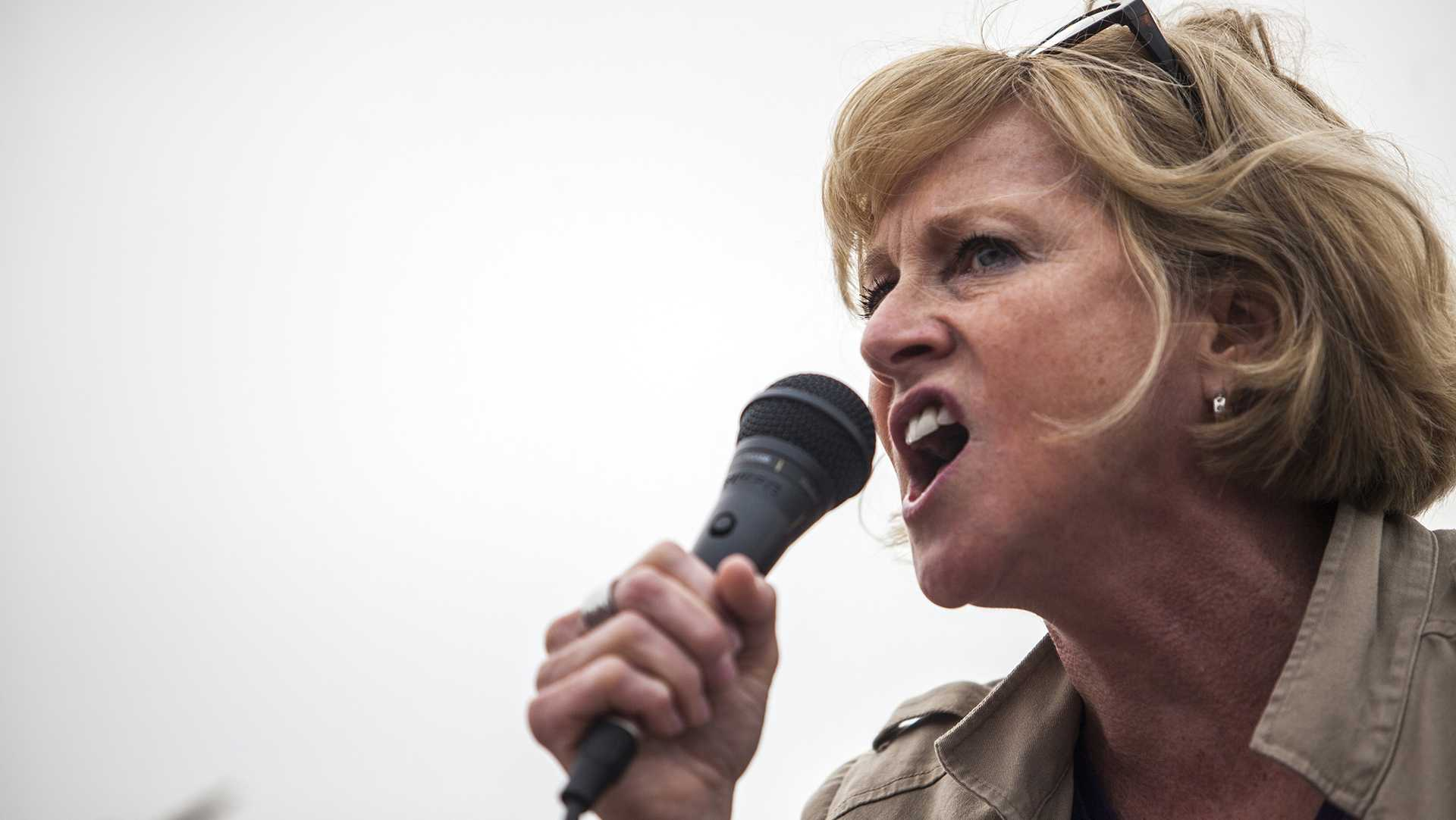 Gubernatorial candidate and SEIU Local 199 President, Cathy Glasson, speaks to a crowd during a Labour Walkout event in Des Moines on Monday, Sept. 4, 2017. Organizations in support of laborers across Iowa such as Service Employees International Union, Iowa Citizens for Community Improvement, and Democratic Socialists of America participated in the rally. (Ben Smith/The Daily Iowan)