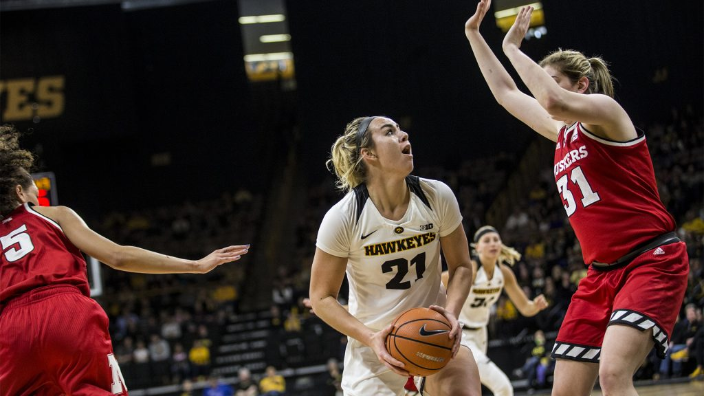 during+the+NCAA+women%27s+basketball+game+at+Carver-Hawkeye+Arena+on+Sunday%2C+Jan.+28%2C+2018.+The+Cornhuskers+defeated+the+Hawkeyes+92-74.+Junior%2C+Hannah+Stewart+goes+up+for+a+basket+in+the+paint.+%28Chris+Kalous%2FThe+Daily+Iowan%29