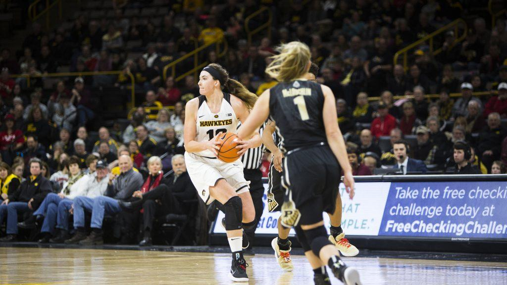 Iowa+center+Megan+Gustafson+looks+to+pass+during+an+Iowa%2FPurdue+women%27s+basketball+game+in+Carver-Hawkeye+Arena+on+Saturday%2C+Jan.+13%2C+2018.+The+Boilermakers+defeated+the+Hawkeyes%2C+76-70.+%28Joseph+Cress%2FThe+Daily+Iowan%29