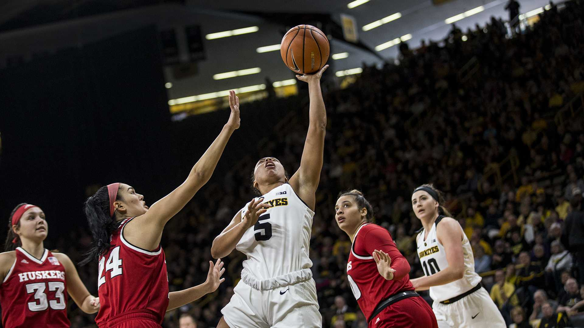 during the NCAA women's basketball game at Carver-Hawkeye Arena on Sunday, Jan. 28, 2018. The Cornhuskers defeated the Hawkeyes 92-74. (Chris Kalous/The Daily Iowan)