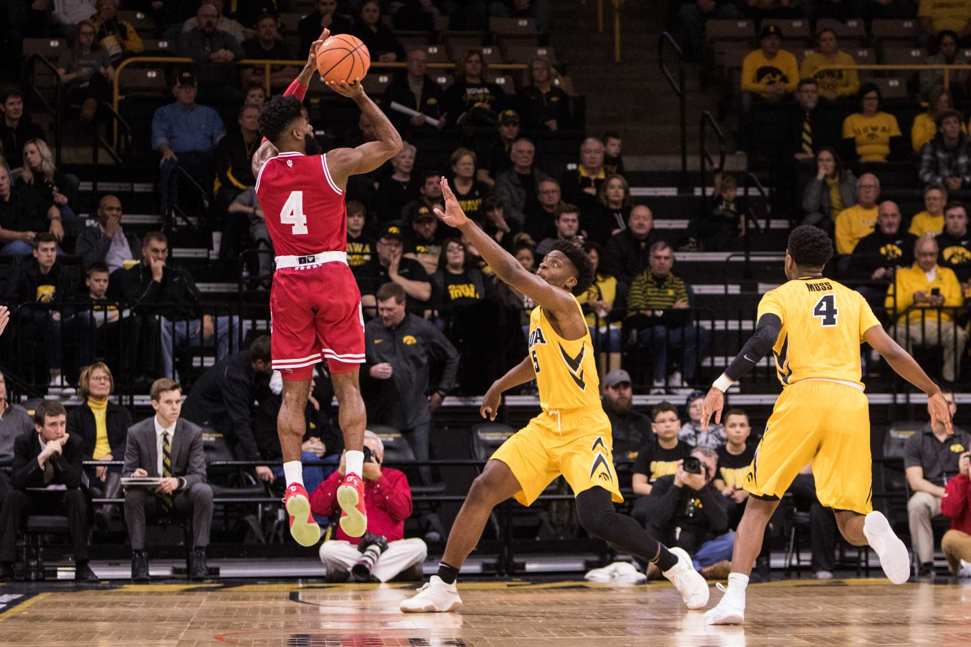 Indiana Guard Robert Johnson launches a jump shot against the University of Iowa at Carver-Hawkeye Arena on Saturday, Feb. 17, 2018. The Hoosiers defeated the Hawkeyes 84 to 82. (David Harmantas/The Daily Iowan)