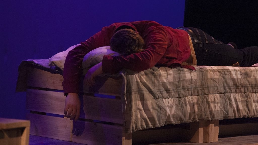 Actors+prepare+to+set+the+scene+for+Busted%2C+a+play+written+by+Jason+Grobstich+during+a+dress+rehearsal+for+the+10+minute+plays.+The+10+minute+plays+feature+a+variety+of+student+playwrights+and+actors+as+they+perform+short+sequences+of+plays.%28Katie+Goodale%2FThe+Daily+Iowan%29
