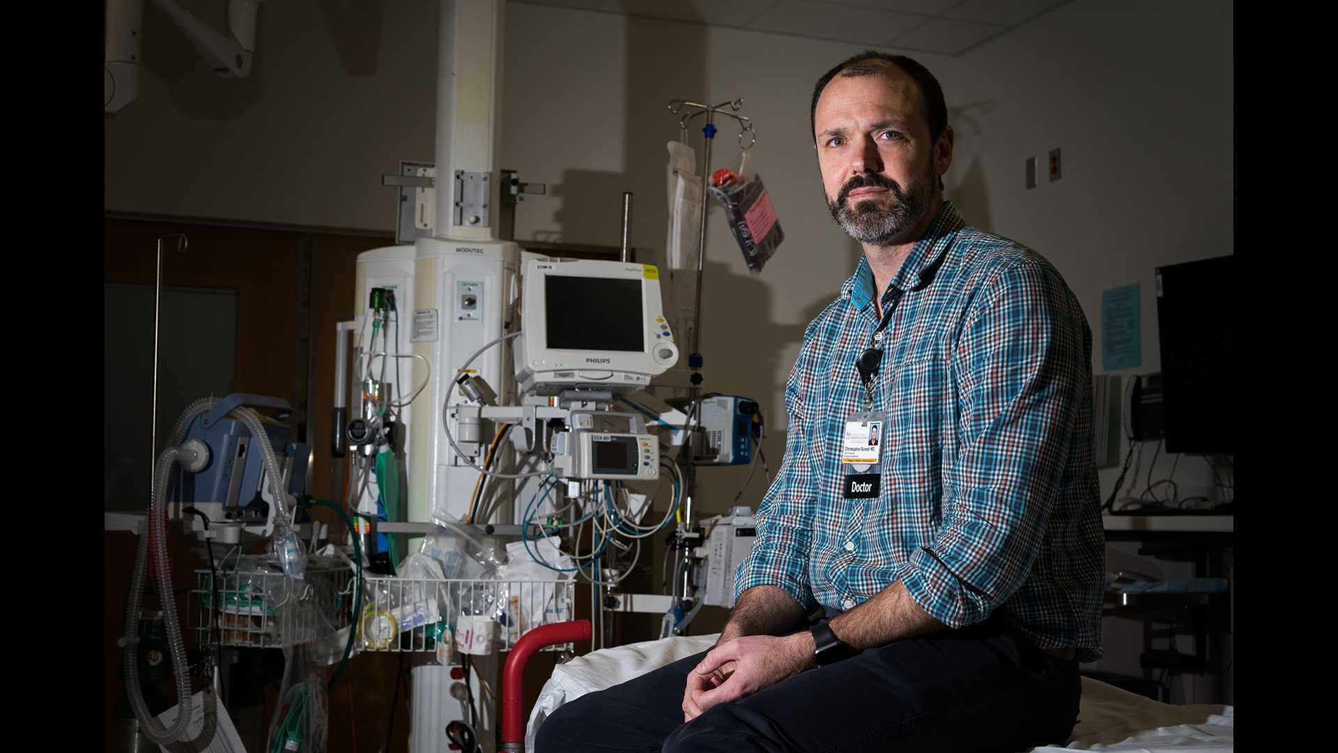 Iowa's Christopher Buresh, a clinical professor of emergency medicine, poses for a portrait in the emergency department of the University of Iowa Hospital on Tuesday, Feb. 6, 2018. (Matthew Finley/The Daily Iowan)