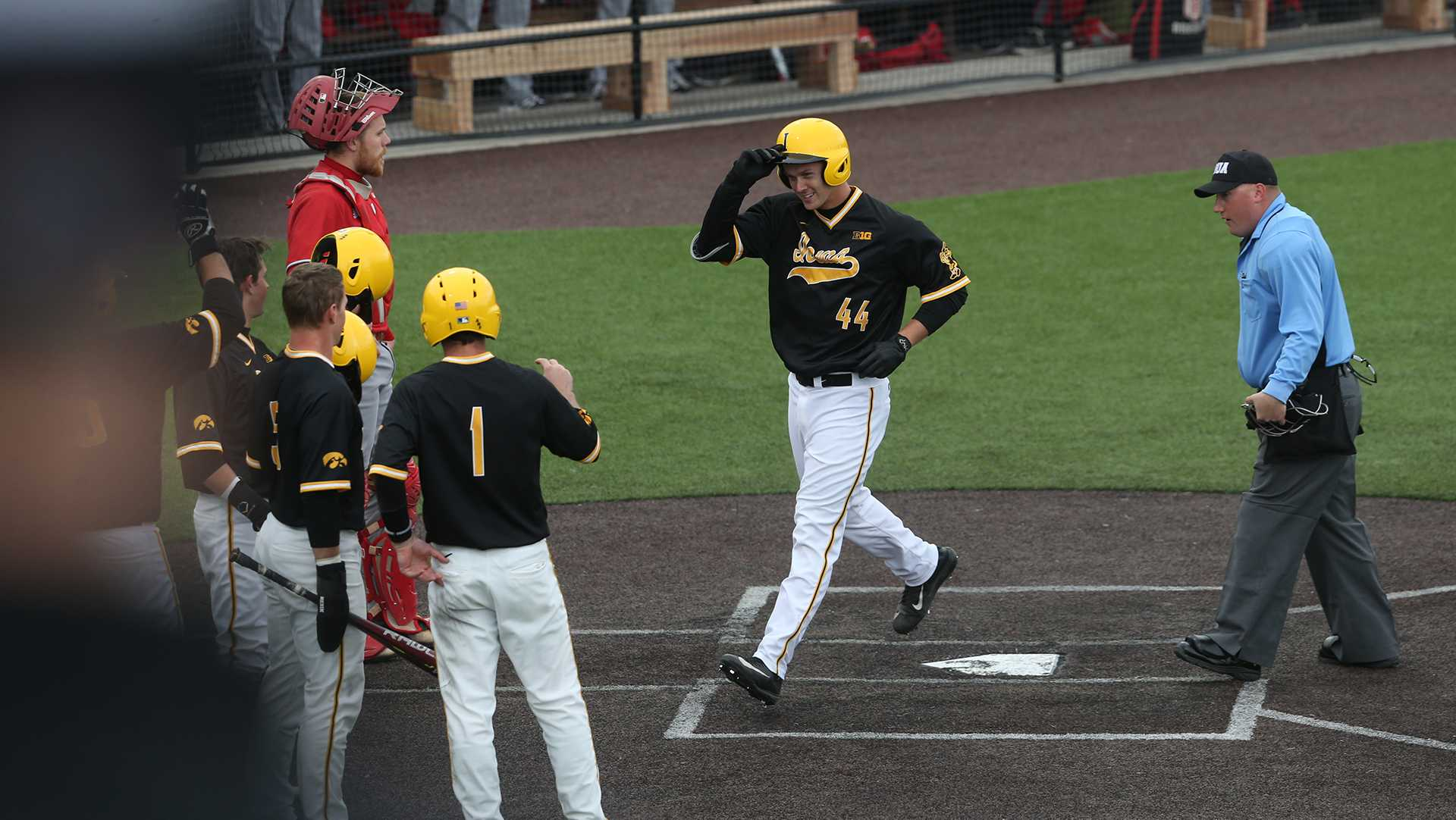 Iowa outfielder Robert Neustrom celebrates with teammates after his grand slam during the game between the Bradley Braves and the Iowa Hawkeyes in Iowa City at Duane Banks Field on Wednesday, March 22, 2017. The Hawkeyes bats came alive to hit two grand slams and won 12-1. (The Daily Iowan/ Alex Kroeze)