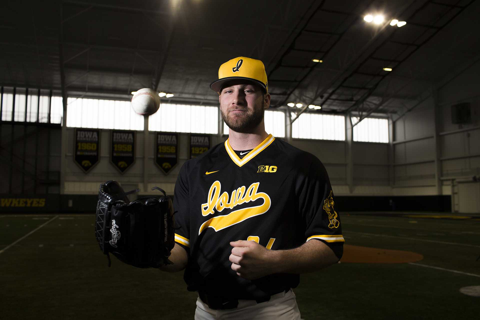 Iowa pitcher Nick Allgeyer poses for a portrait during baseball media day at the Hansen Football Performance Center on Thursday, Feb. 8, 2018. The Hawkeyes begin their season Feb. 16 against Toledo in the Diamond 9 Sunshine State Classic Series in Kissimmee, Fl. (Lily Smith/The Daily Iowan)