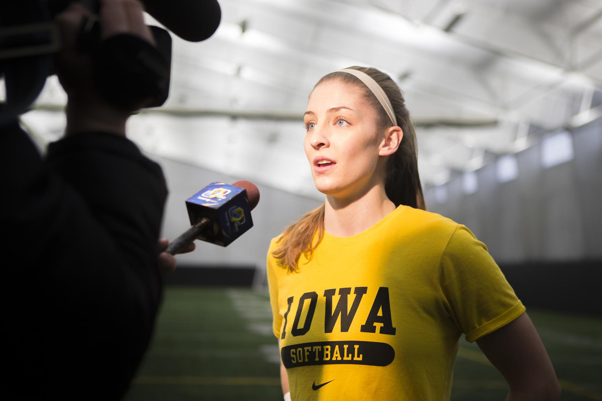 Iowa pitcher Allison Doocy speaks to the media during softball media day at the Hawkeye Tennis and Recreation Complex on Thursday, Feb. 1, 2018. The Hawkeyes begin the regular season on Feb. 9 against UIC, in Lafayette, LA. (Lily Smith/The Daily Iowan)