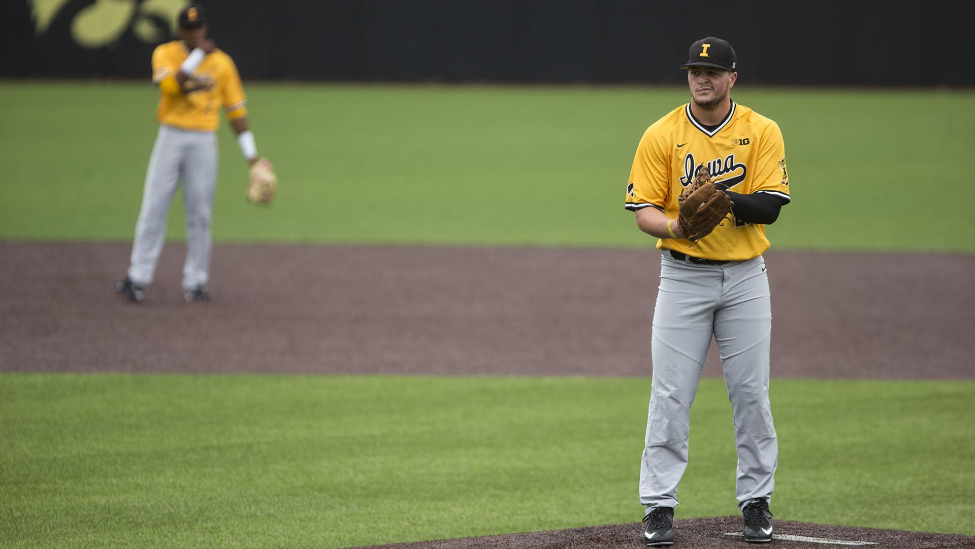 Iowa pitcher Brady Schanuel stands on the mound during game 2 of the Black and Gold World Series at Duane Banks Field on Thursday, Oct. 12, 2017. The Gold team defeated the Black team 7-6. (Ben Smith/The Daily Iowan)